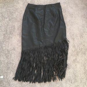 BRAND NEW LF black leather fringe skirt